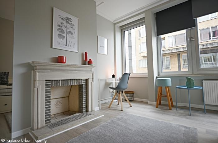 <p>Cosy large furnished room with private bathroom in a spacious appartement with view on trendy Place Flagey, walking distance EU area</p>