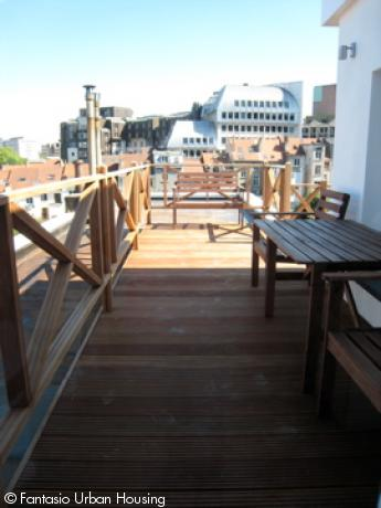 <p>Spacious 1 bedroom furnished penthouse with large South wooden terrace with view on the EU Parliamant walking distance from Shuman area</p>